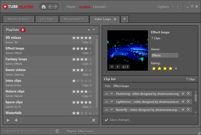 TOMYO - TubePlayer, a stand-alone desktop player for YouTube
